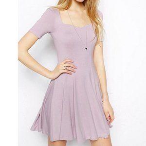 ASOS Lavender Sweetheart Neck Skater Dress